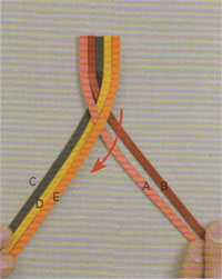 Step 5 of five-string flat braided leather