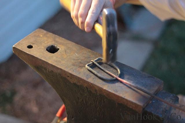 Her husband blacksmith the belt buckle