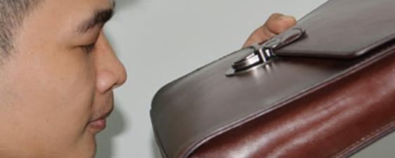 Smell the handbag leather