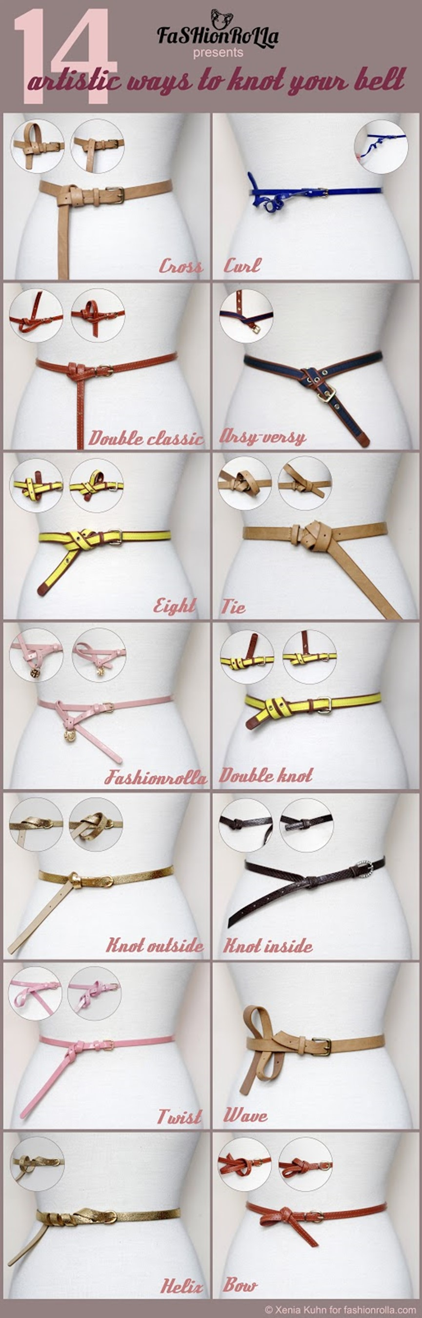 The way to tie a belt