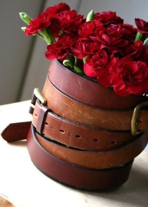 Flower vase made by belt.